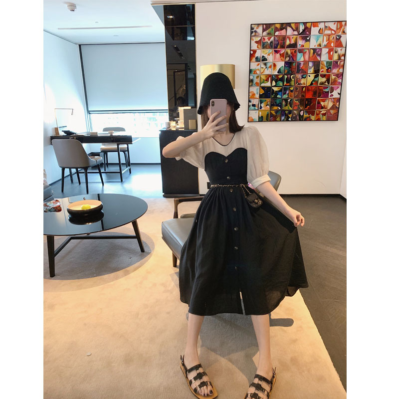 Online Celebrity 2019 Summer New Style Korean-style Retro Will 1 Seconds Win Prince Charming Bandeau Mock Two-Piece Dress WOMEN'