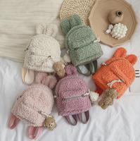 2020 nuevo encantador niños niño de dibujos animados mochila lindo Bunny oído bolsa de la Escuela de Invierno de lana caliente mochila para niños niñas
