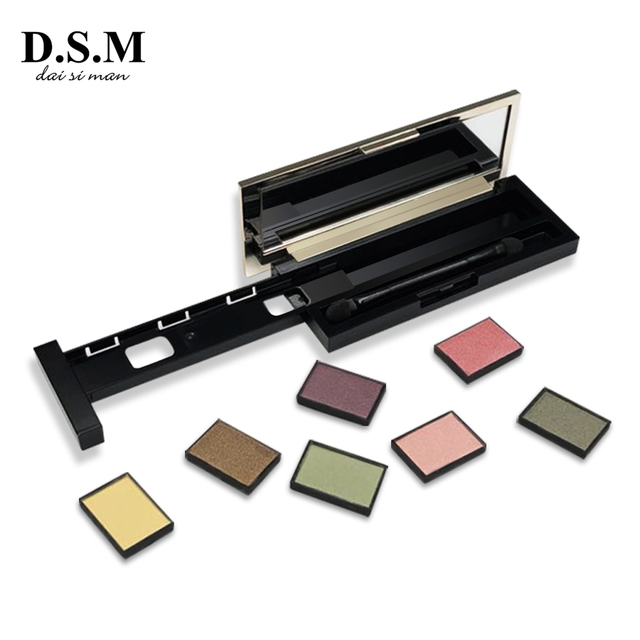 D.S.M Brand New DIY Eye Shadow Replaceable Combined 4 Perfect Shades Palettes Matte Glitter Colorful Makeup Eyeshadow Palettes