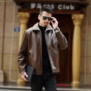 Image 4 - 2020 סתיו וחורף חדש פרווה אחד גברים של עור מפוצל בגדים בתוספת קטיפה עיבוי נוער מזדמן עור מעיל מעיל זכר