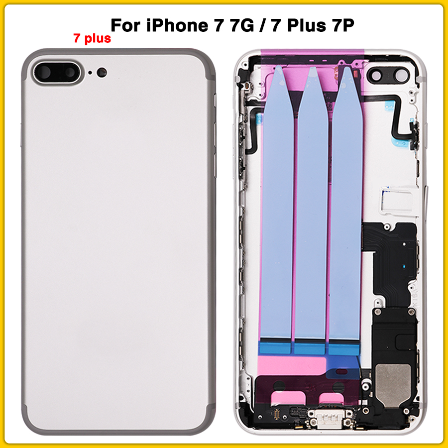 New Full Housing Case For IPhone 7 7G 7 Plus 7P Battery Back Cover Door Middle Frame Bezel Chassis With Flex Cable + Sim Card