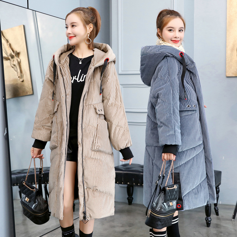 Corduroy Cotton-padded Clothes WOMEN'S Coat Mid-length 2018 Winter New Style Women Jacket-Large Size Thick Down Jacket Cotton-pa