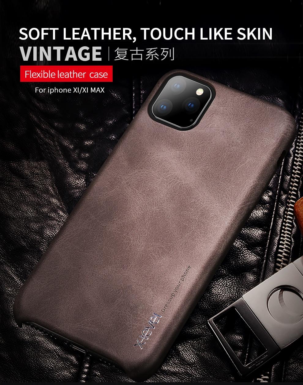 H18e9e643cb7248f6888ce29e080879a29 X-Level Leather Case For iPhone 11 Pro Max Luxury Ultra Light Retro Back Phone Cover For iPhone 11 Pro Case Coque iPhone11