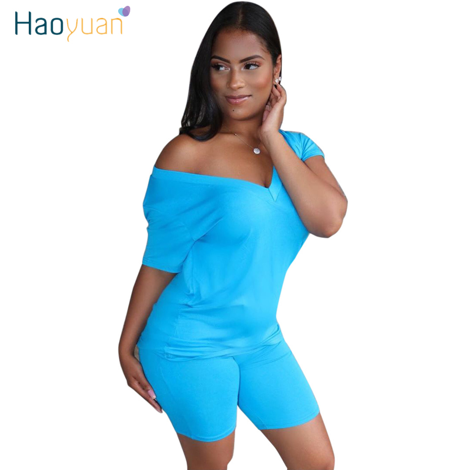 HAOYUAN Casual Two Piece Set Summer Clothes For Women Tracksuit Top Biker Shorts Sweat Suits 2 Piece Club Outfits Matching Sets