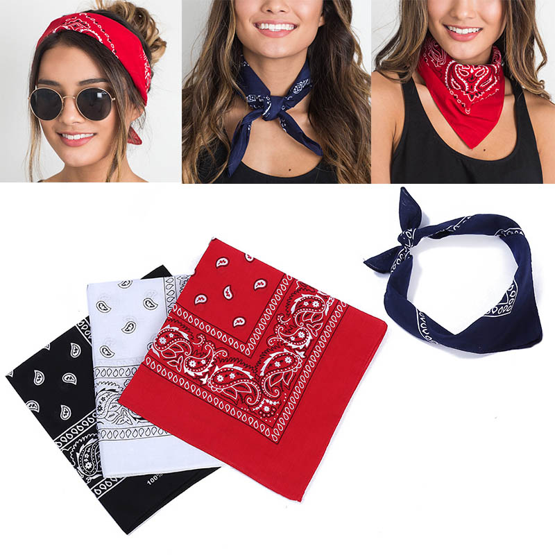 Fashion 2019 Women Hair Accessories Bandana Square Scarf  Female Bandanas Headwear Rock Cool Girls Hair Tie Band Head Scarf