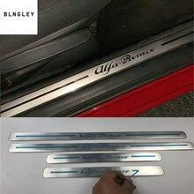 4pcs/lot car stickers for Alfa Romeo 2015 2018 Giulia / 2014 2016 Giulietta ultra thin Stainless Steel Door Sill Scuff Plate