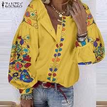 Bohemian Floral Printed Blouse ZANZEA Women Long Sleeve Buttons Tops Casual Spring Blusas Femme Robe Work Shirts Plus Size 7