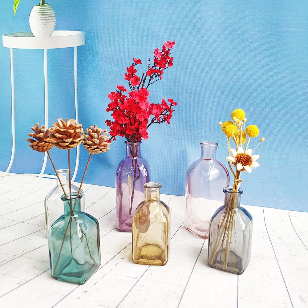 צבעוני זכוכית אגרטל שקוף פשוט זכוכית בקבוק שולחן מלאכות קישוטי עיצוב הבית אביזרי פרח אגרטלים לבתים