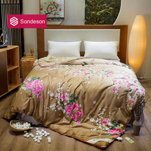Sondeson Luxury 100% Silk Warm Comforter/Blanket/Quilt/Duvet For Summer Winter Queen King Printed Flower Bedding Free Shipping