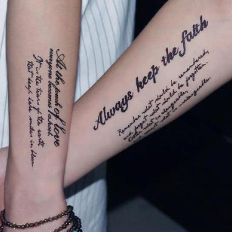 Горячие Черные английские слова татуировки стикер женщины мужчины пара временный боди-арт наклейки с поддельными татуировками водонепрон...