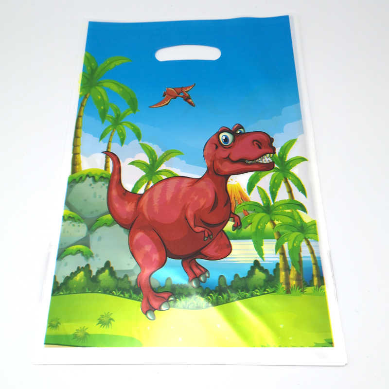 20pcs/pack Happy Baby Shower Party Kids Boys Favors Lovely Dinosaur Theme Plastic Loot Bags Birthday Decoration Gifts Bags