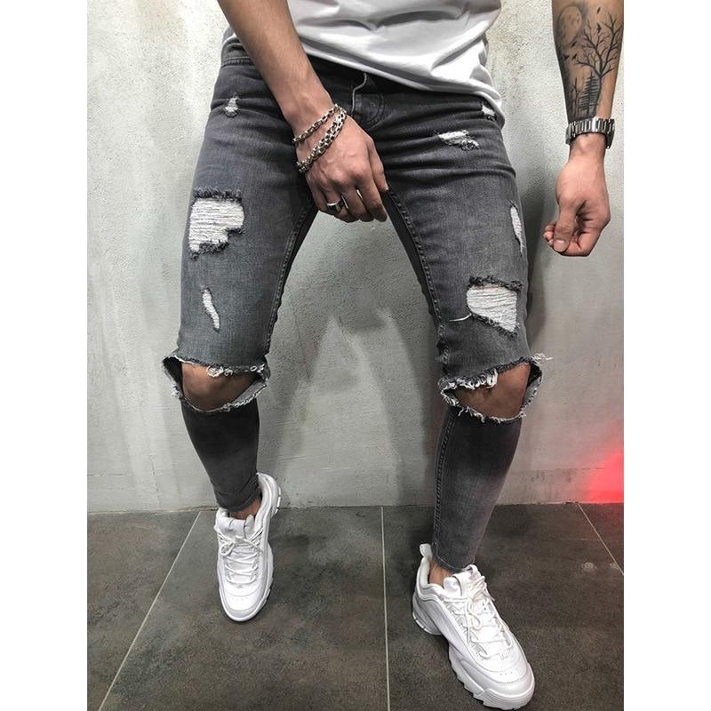 Fashion Men's Hole Jeans Black/Blue/Grey Hiphop Jeans 3