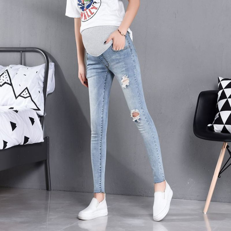 860# Ripped Hole Stretch Washed Thin Denim Maternity Jeans Spring Summer Pencil Pants for Pregnant Women Pregnancy Casual Slim