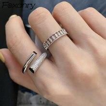 Foxanry – bagues en argent Sterling 925 et Zircon étincelant pour femmes, nouvelle mode géométrique créative, élégant, bijoux de mariée, cadeaux