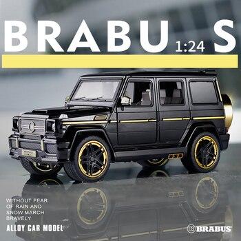 1:24 Mercedes-Benz Babs g65 vehículo todoterreno modificado SUV sonido de simulación y modelo de coche ligero colección de regalo vehículo extraíble