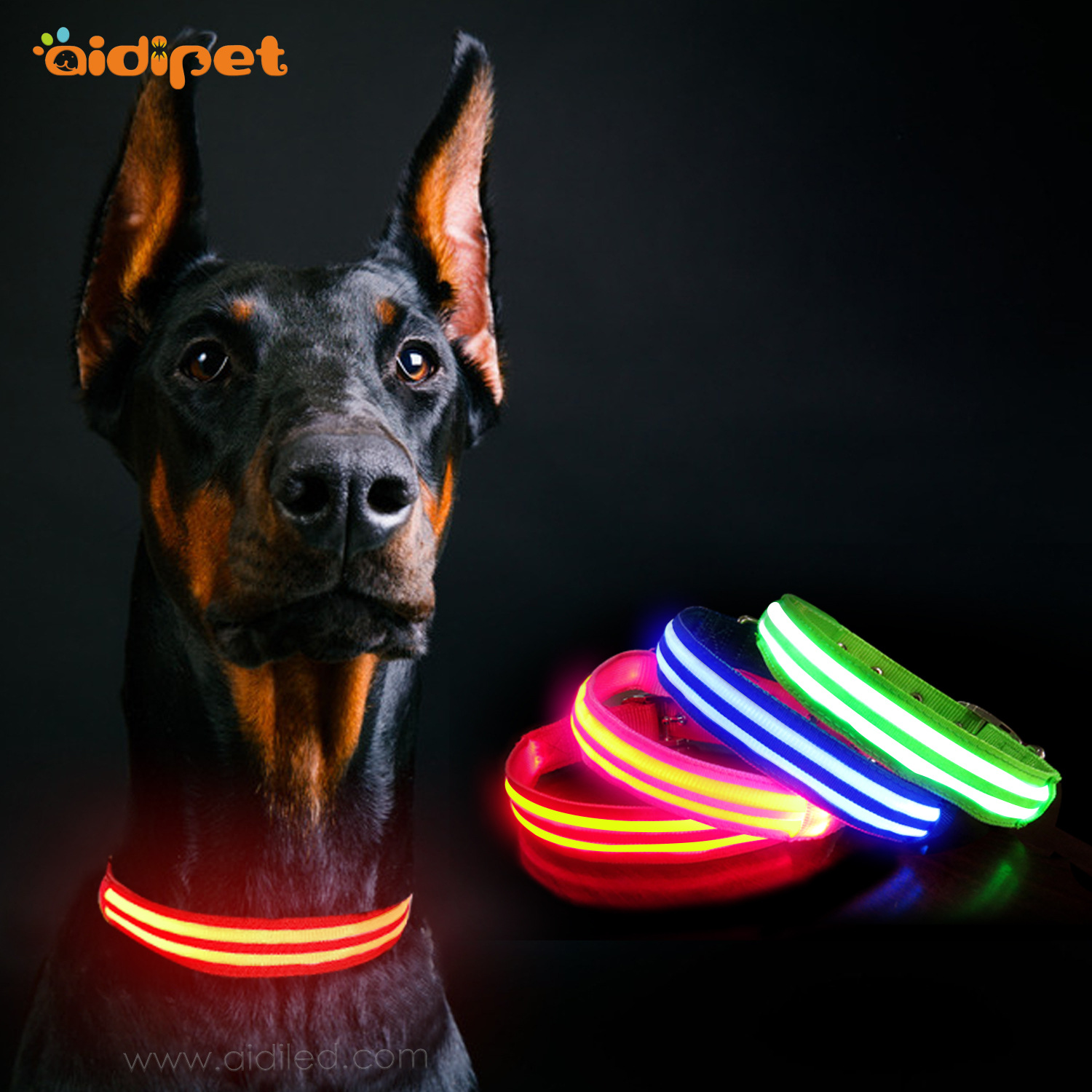 Supply Of Goods Double Dao Guang Tiao Traction Neck Ring Fashion Luminous Collar LED Dog Collar Pet Supplies