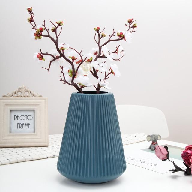 Origami White Plastic Vase Imitation Ceramic Artificial Flower Bottle Flower Vase for Dining Table Nordic Decoration Home Pot 5