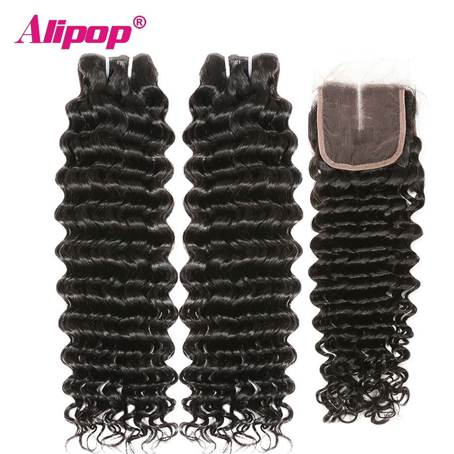 Deep Wave With Closure Remy Hair Bundles And Closure Human Hair Bundles With Closure Hair Vendors Alipop Keep Curls Well 3 PC