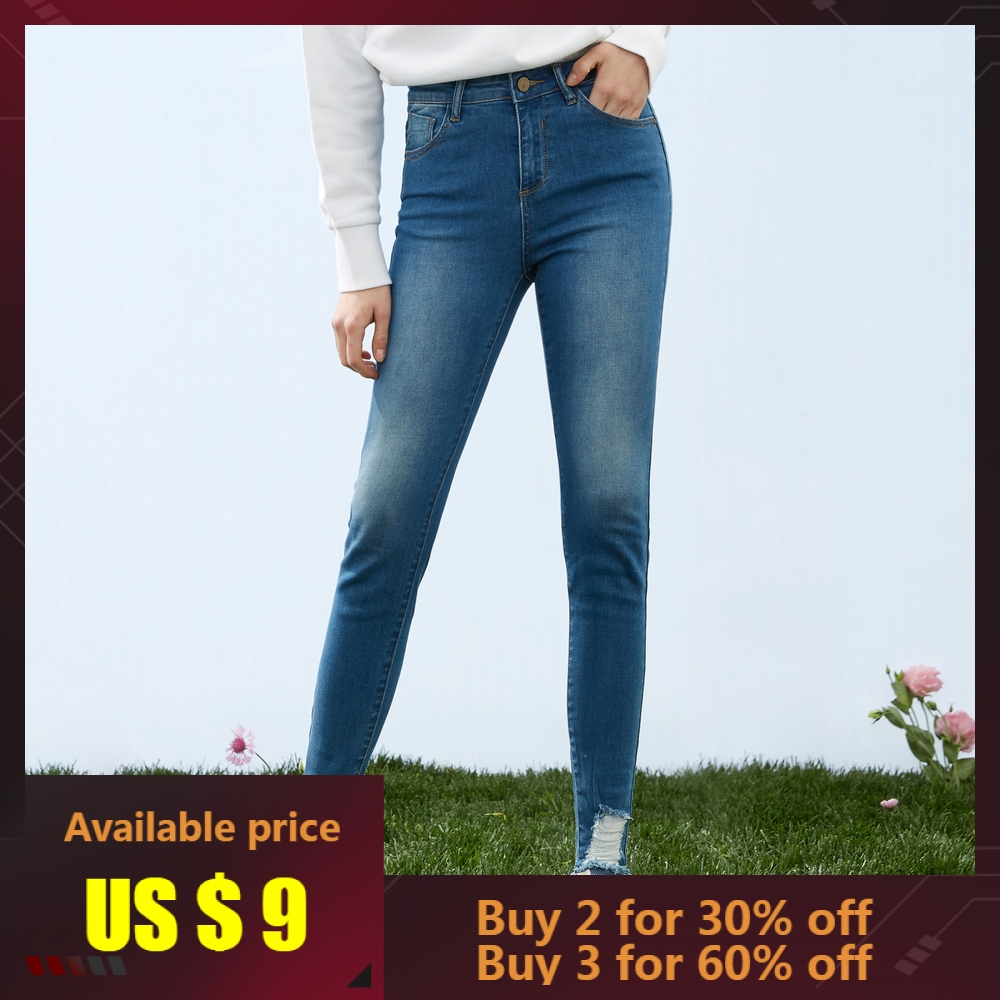 Metersbonwe Slim   Jeans   For Women   Jeans   Hole Ripped Design Woman Denim Pencil Pants High Quality Stretch Waist Women   Jeans