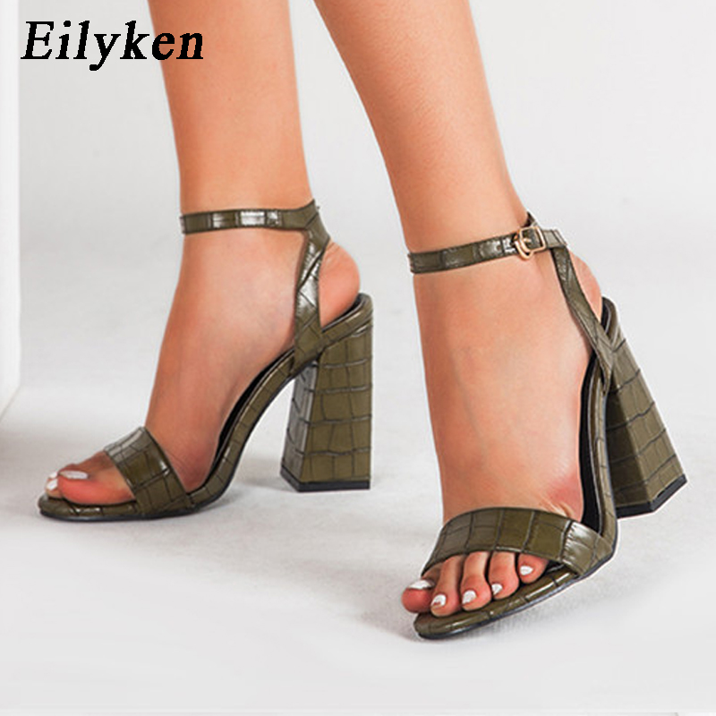 Eilyken 2020 New Sexy High Heel Sandals Fashion Crocodile Pattern Leather Peep Toe Ankle Buckle Strap Party Womens Shoes
