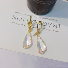 2019 hot fashion jewelry luxury transparent crystal earrings simple  wedding party for women