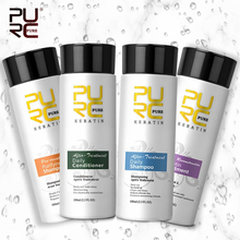 PURC 4pcs 100ml Brazilian Keratin Hair Treatment Shampoo 3 Setp Smoothing Repair Straightening Frizzy Curly Hair Care Products