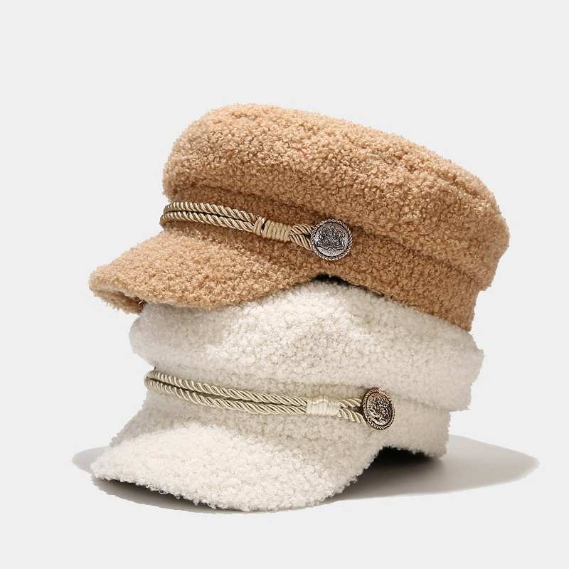 Autumn Winter Military Cap Women Fashion Lambswool Newsboy Cap Ladies Casual Keep Warm Flat Top Hat Female sombreros de mujer