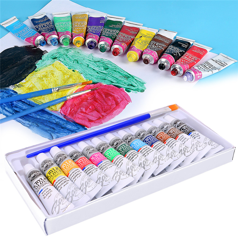 6 ML 12 Color Professional Acrylic Paint Watercolor Set Hand Wall Painting Brush