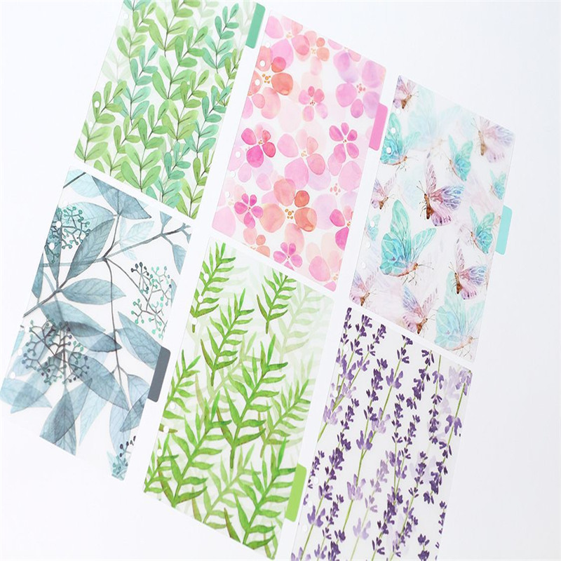 6pcs/lot A5/A6/A7 Kawaii Spiral Notebook Divider Original PP Transparent 6 Hole Colorful School Stationery Index Paper