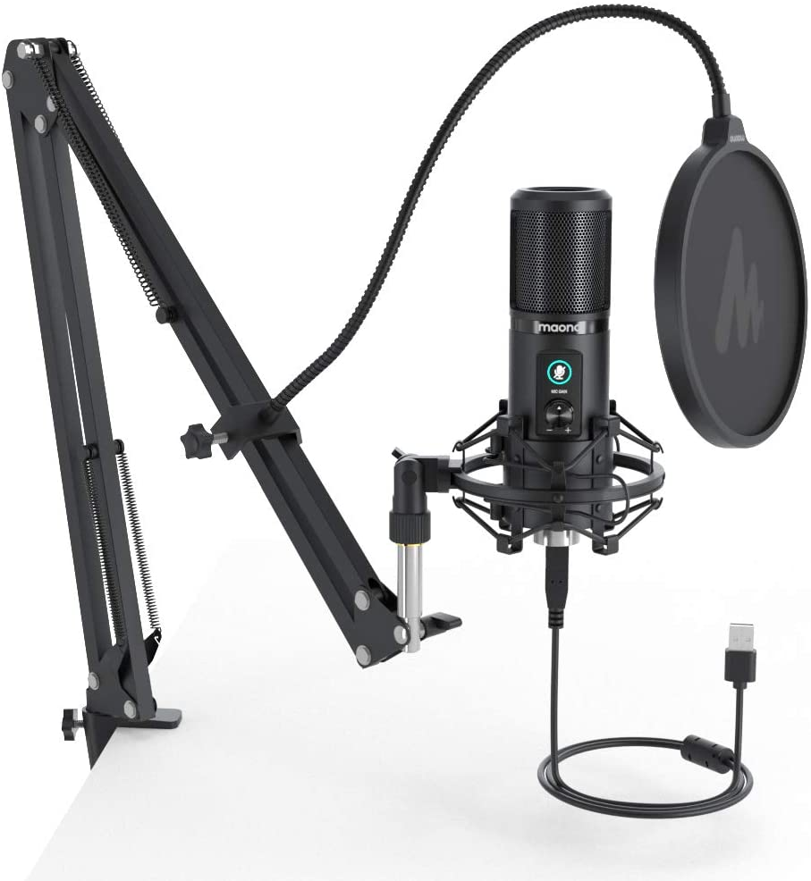 MAONO PM421 USB Microphone 192KHZ 24BIT Professional Cardioid Condenser Podcast Mic with One-Touch Mute and Mic Gain Knob