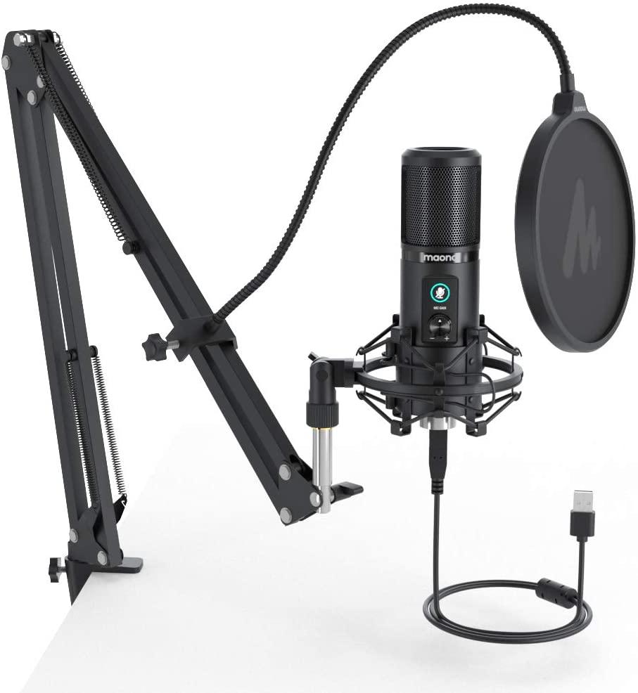 Maono PM421 Usb Microfoon 192Khz/24BIT Professionele Cardioid Condensator Podcast Microfoon Met One-Touch Mute En Mic gain Knop