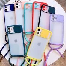 Wyczyść matowy naszyjnik łańcuch telefon skrzynki pokrywa z smycz pasek przewód dla iPhone 12 Pro 12 Mini 7 8 Plus X XS XR 11 Pro MAX SE 20