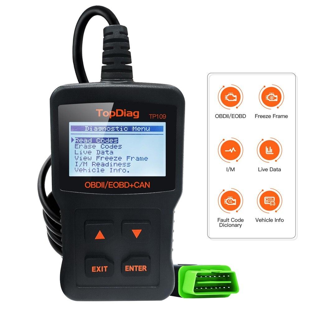 TopDiag TP109 OBD2 Scanner Car Engine Fault Code Reader OBD 2 OBDII CAN Diagnostic Scan Tool Suitable Compatible EOBD Vehicles