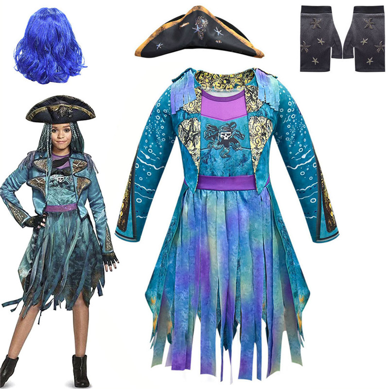2019 New Cosplay Descendants 3 Uma Ursula Girl's Pirate Costume Blue Rainbow Wig Halloween Carnival Makeup Party Costume Prop