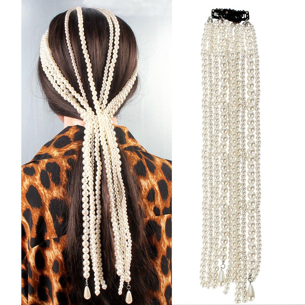 ABS Imitation Pearl Hair Chain Long Chains Hair Pins Headwear Wedding Bridal Hair Accessories Hair Jewelry