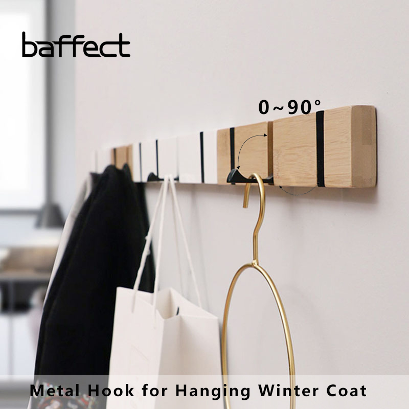 Wood Wall Hanger Coat Hooks Key Hook Holder Clothes Storage Organizer Metal Hidden Wall Hook for Hanging Clothes Home Decoration