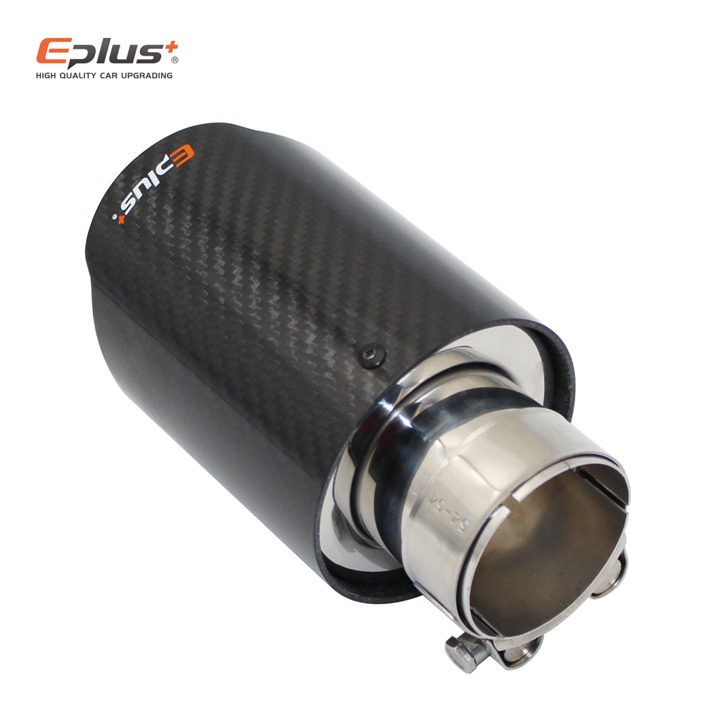 EPLUS Car Glossy Carbon Fiber Muffler Tip Exhaust System  Pipe Mufflers Nozzle Universal Straight Stainless Blue For Akrapovic