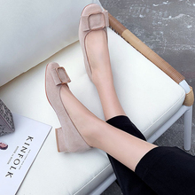 2019 AME Shoes Round Toe Bowknot Square Heels Casual Black Lofters Slip-ons Women Pump Dress Working 11811ABX2059