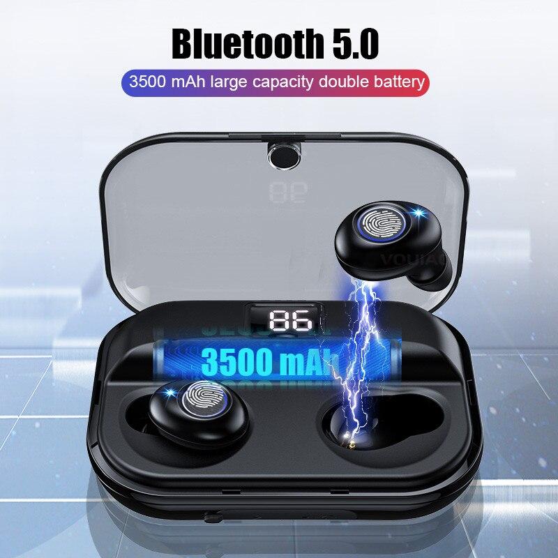 VOULAO Bluetooth 5.0 Earphones Wireless Headphone Waterproof Stereo Sport Earbuds Handsfree Headset With Mic Charging Box