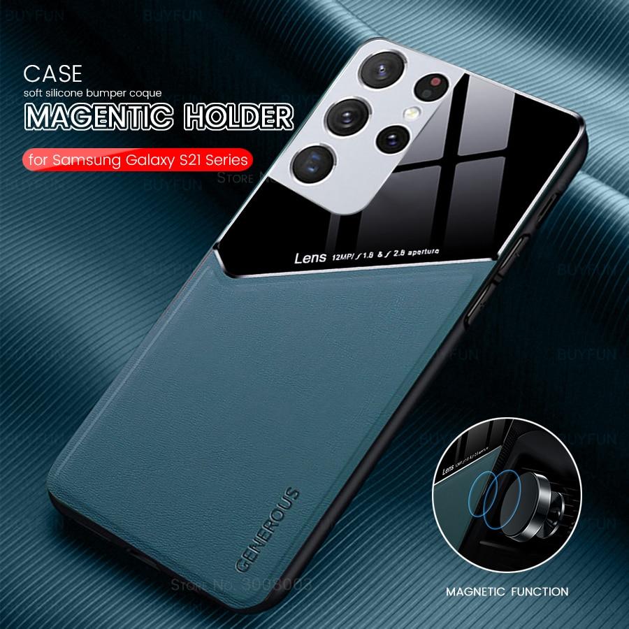 Чехол S21 +, жесткие чехлы из оргстекла с кожаной текстурой для телефона Samsung GalaxyS21, Galaxy S21 S, 21 Plus, Ультратонкий силиконовый чехол с рамкой