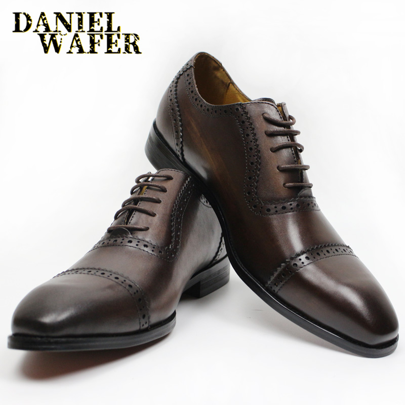 LUXURY LEATHER OXFORD SHOES MEN LACE-UP CAP TOE OFFICE DRESS WEDDING BLACK COFFEE  BROGUE POINTED FORMAL SHOE