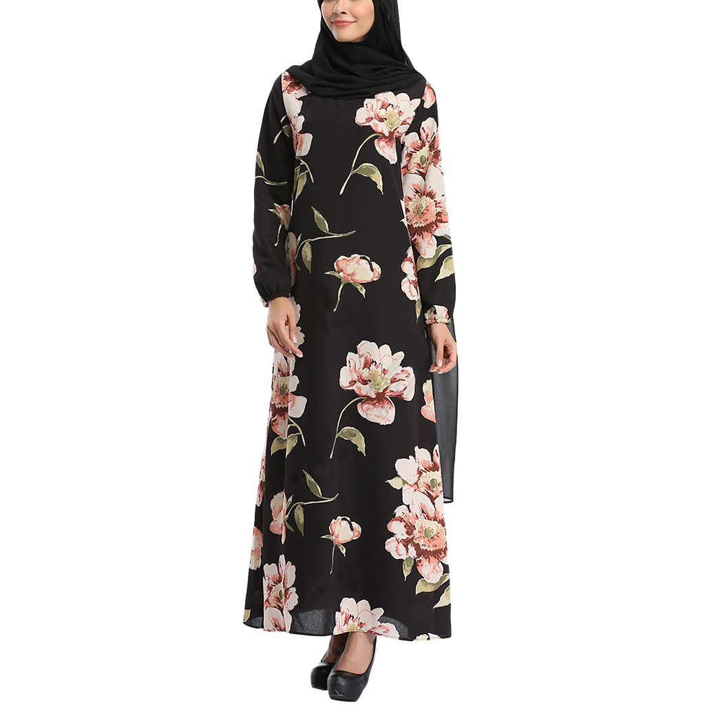 Muslim Women Maxi Dress Abaya Print Long Robe Shirt Kimono Loose Style Ramadan Middle East Moroccan Islamic Prayer Clothing 11.1