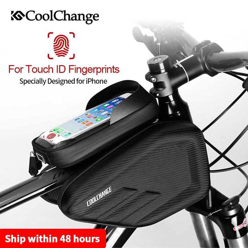 Водонепроницаемая велосипедная сумка с рамкой и передней головкой, велосипедная сумка с двойным IPouch, 6,2 дюймов, сумка для велосипеда с сенсо...