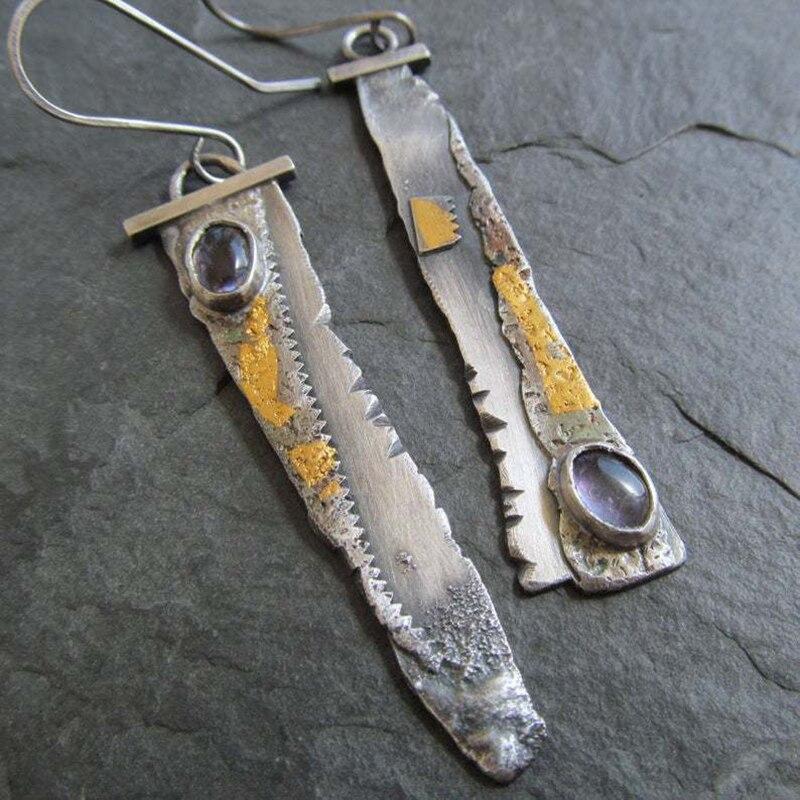 Vintage Bohemia Long Earrings Set Antique Asymmetry Charm Ethnic Jewelry Sickle Indian Drop Resin Earrings For Women O4D389