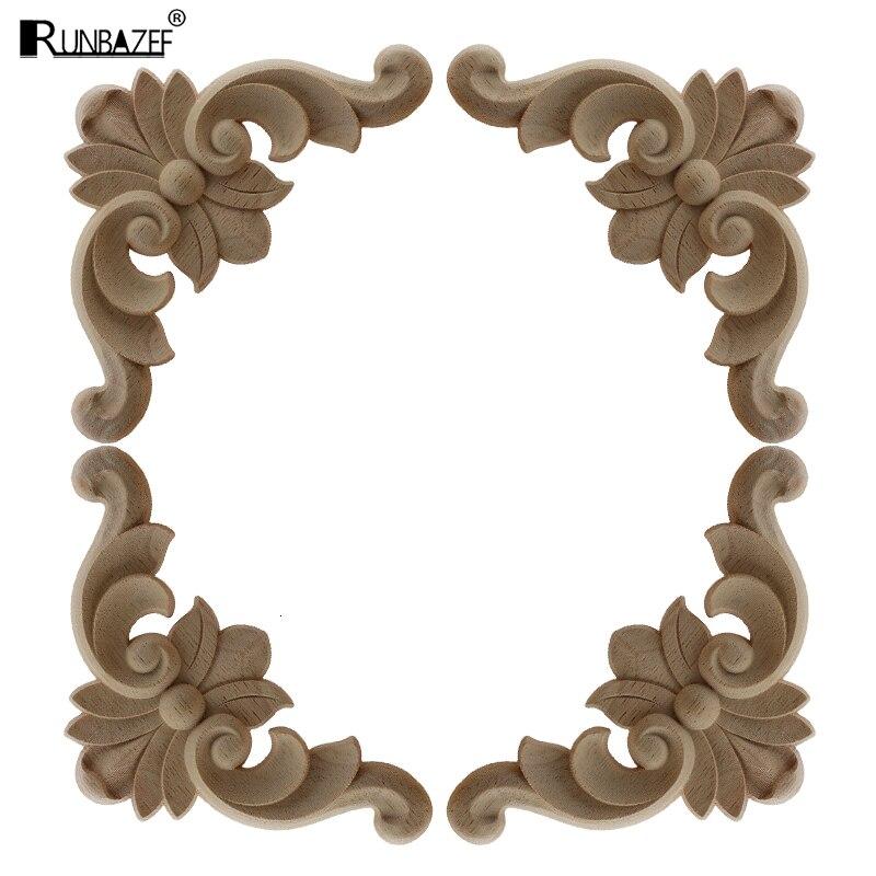 4Pcs European Wood Decoration Carved Furniture Applique Decorative Background Patch Vintage Home Decor Ornaments Pendulum
