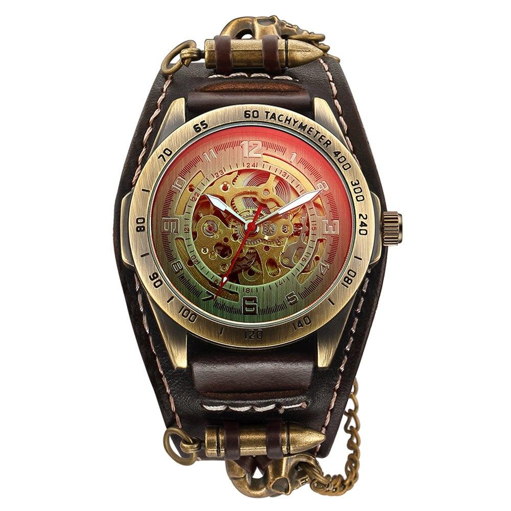 Sport Uhr Männer Automatische Herren Uhren Top Brand Luxus Wasserdicht Retro Kuh Leder Armband Uhr Skeleton Relogio Masculino