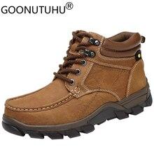 Мужские зимние ботинки из натуральной кожи, размеры 38 47