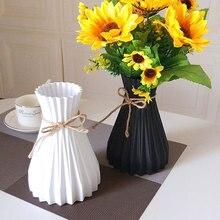 Plastic Vases Arrangement Wedding-Decorations Simplicity-Basket Anti-Ceramic Rattan-Like