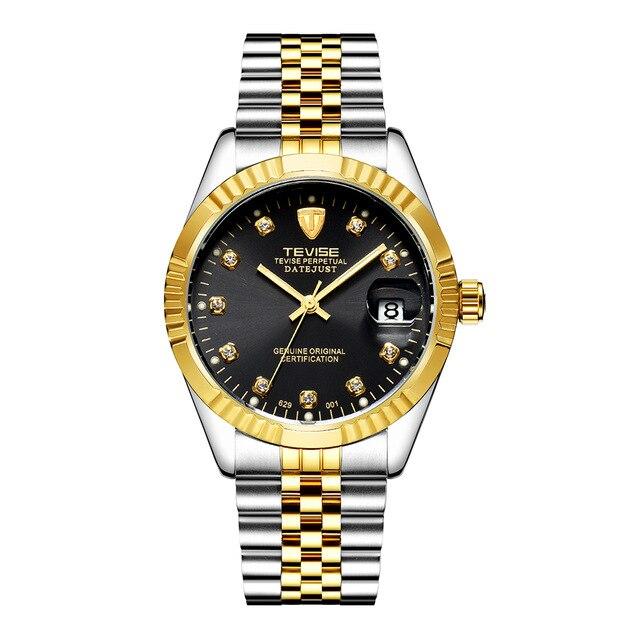 Watch Men Automatic Mechanical Watch Gold Vintage Man Watch Mens TEVISE Wristwatch Top Brand Luxury Date Display Clock 629
