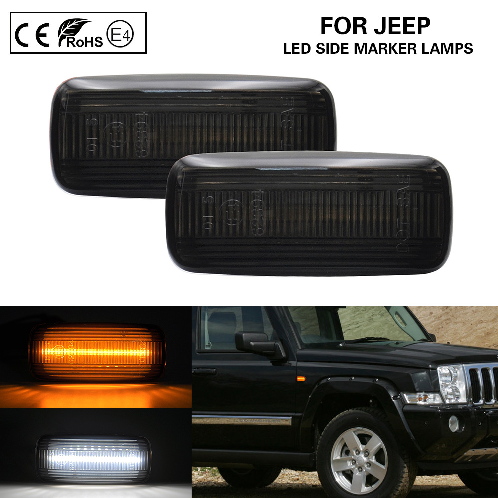 Smoke LED Side Marker Lamps Turn Signal Lights (Amber)LED Position Lights(white)for JEEP Patriot Compass Commander Liberty